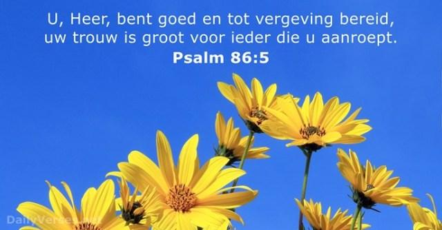 Psalmen 86-5 - U Heer bent goed en tot vergeving bereid - DailyVerses.net