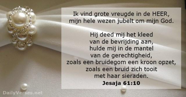 Jesaja 61 10 - grote vreugde in de Heer - bruid bruidegom - DailyVerses.net