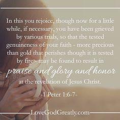 1 petrus 1 6-7 - rejoice although grieved by trials - Pinterest